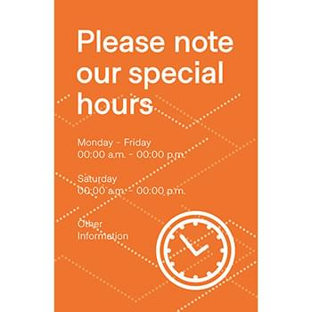 Special Hours Posters, CANADA, Pack of 6, Multiple colors